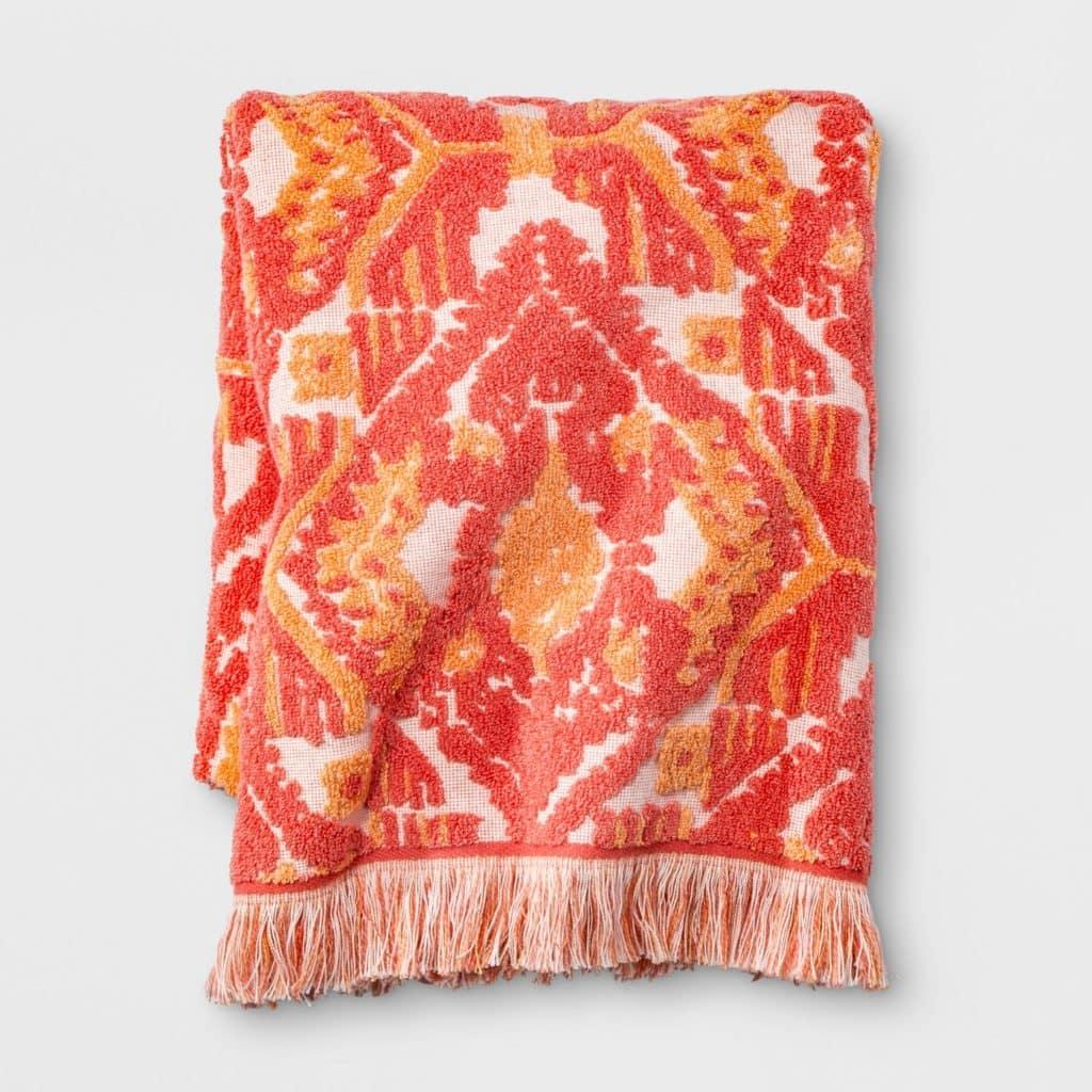 Ikat Fringed Towel Coral Orange - Opalhouse™ at Target