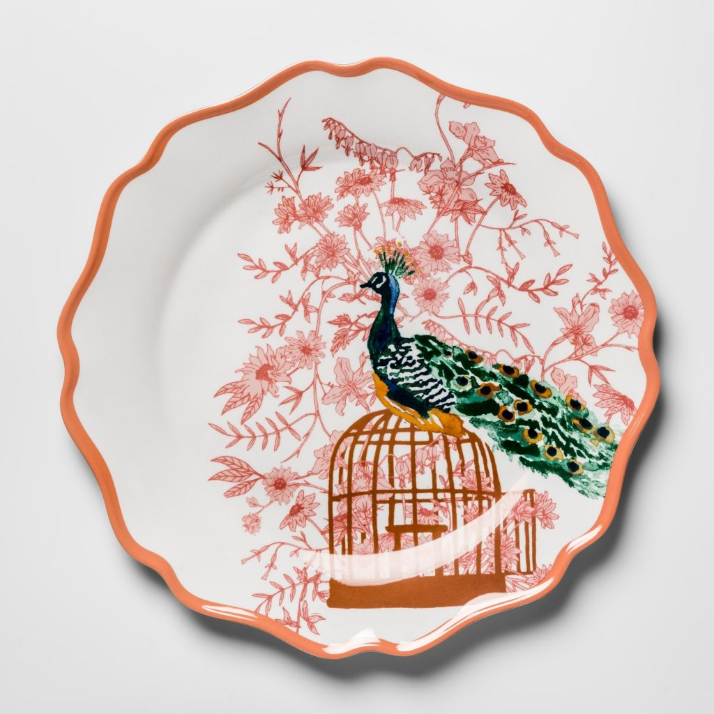 "Melamine Dinner Plate 10.5"" Pink/Orange Peacock - Opalhouse™ at Target"