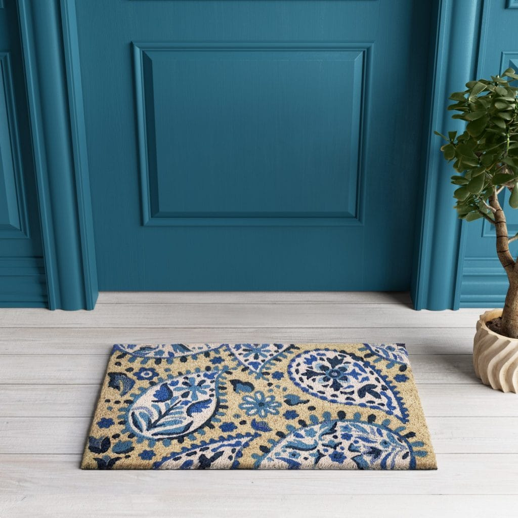 Blue/White Paisley Tufted Doormat 1'6