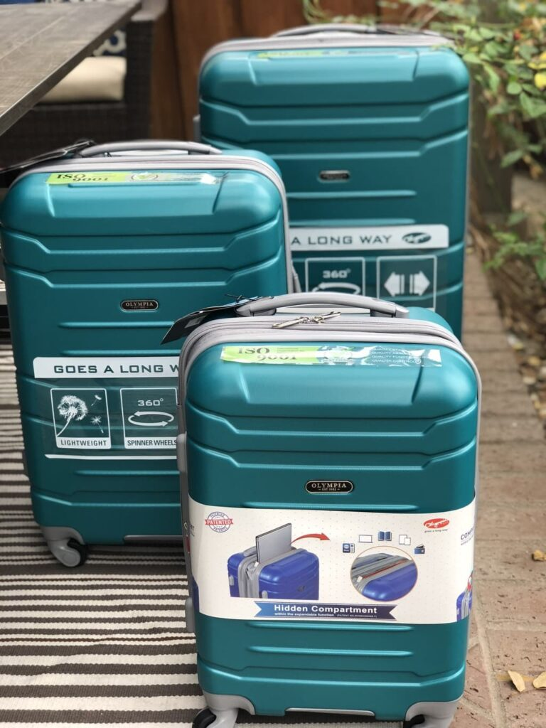 blue spinning luggage from Ruelala deal site
