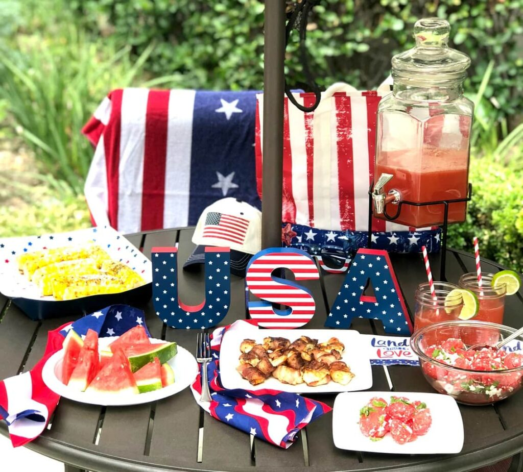 table decor for Independence Day Block Party