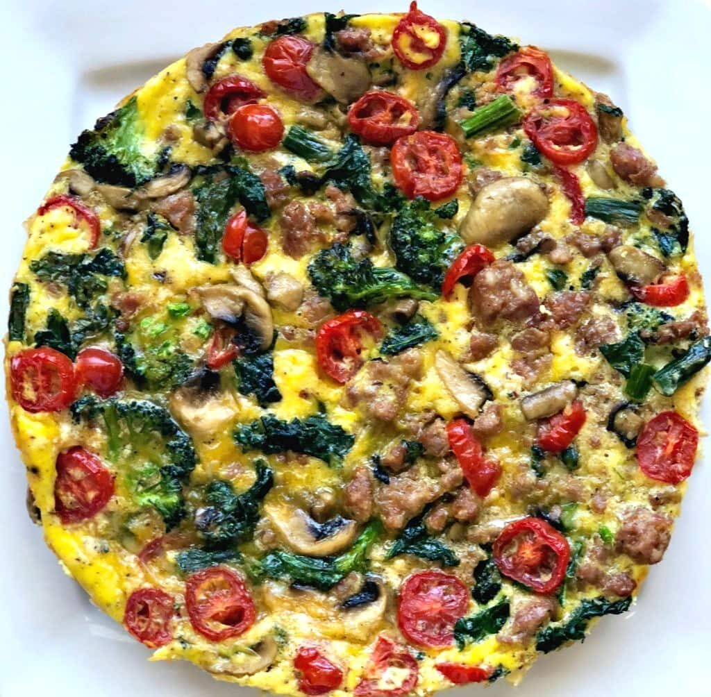 Easy frittata recipe using leftover vegetables