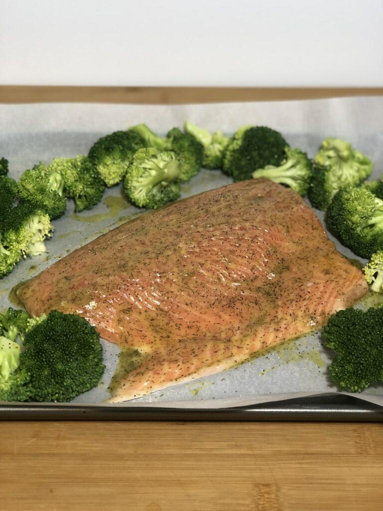 one sheet pan salmon dinner