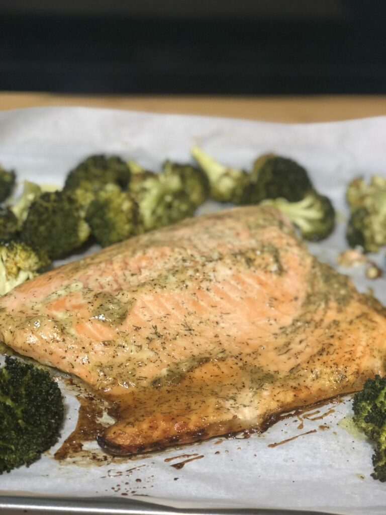 Baked sheet pan salmon recipe