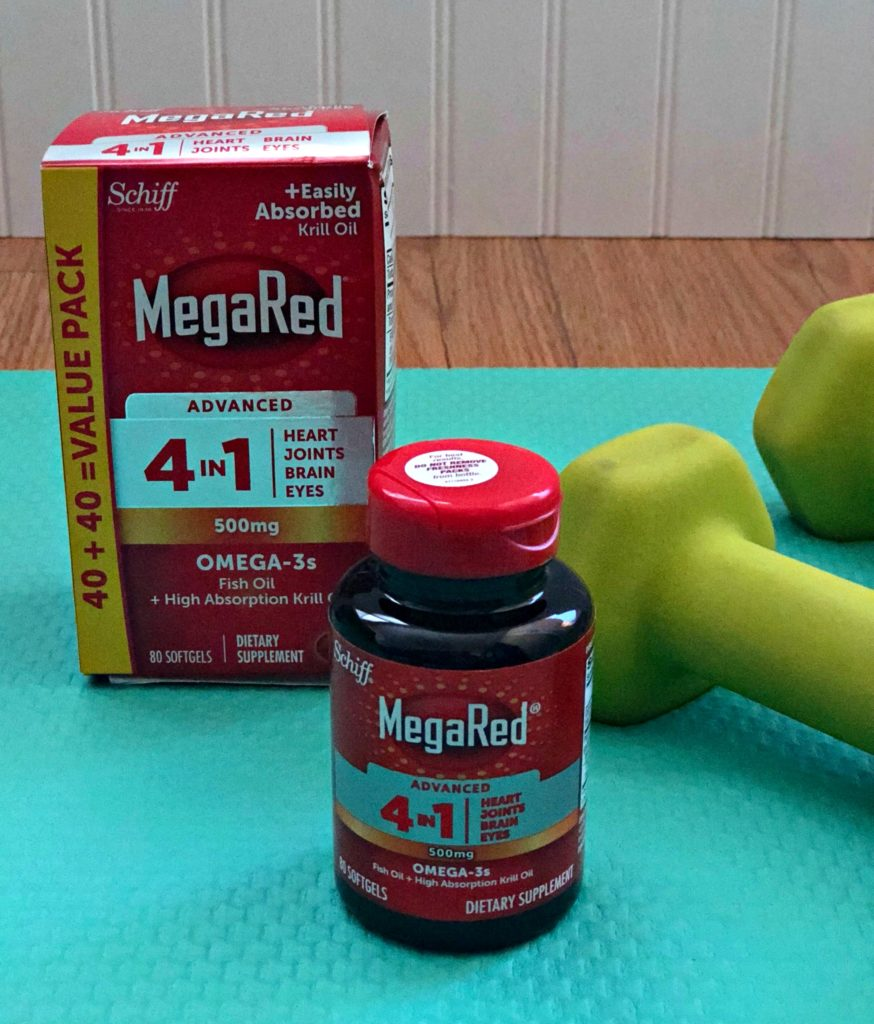 package of MegaRed 4 in 1 and bottle of MegaRed