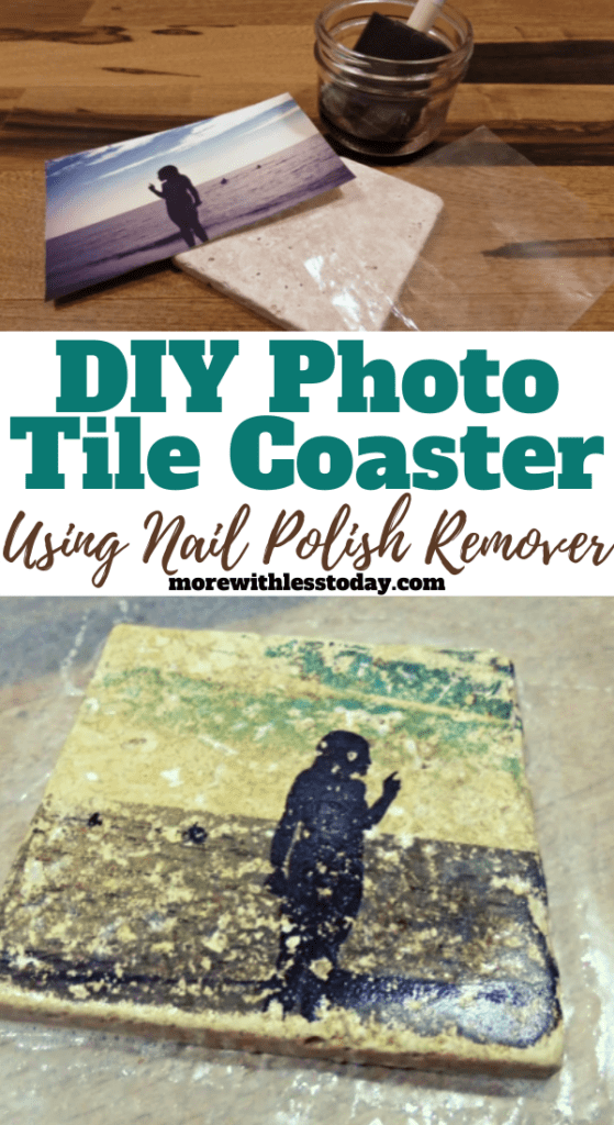making DIY Photo Tile Coasters using nail polish remover collage of steps and supplies