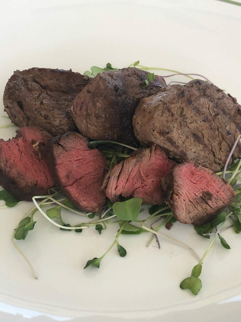 cooked steak medallions Omaha Steaks