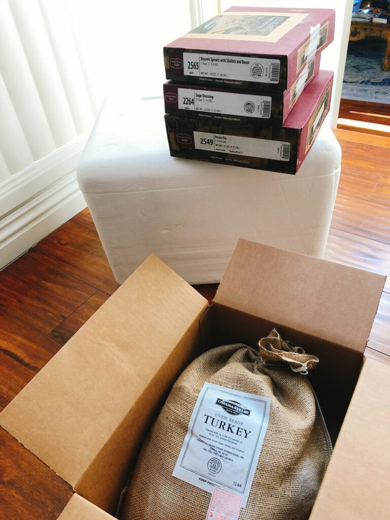 Thanksgiving meal delivery in packaging from Omaha Steaks