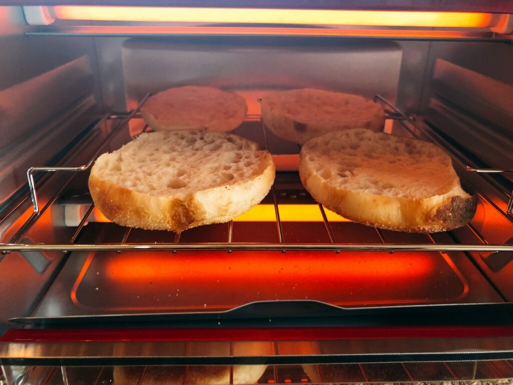 toasting Bays English Muffins in a toaster oven