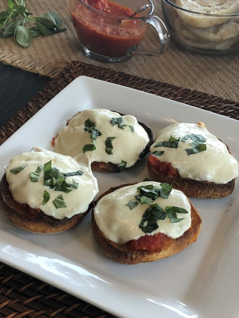 Pizza Margherita Bays English Muffins with basil