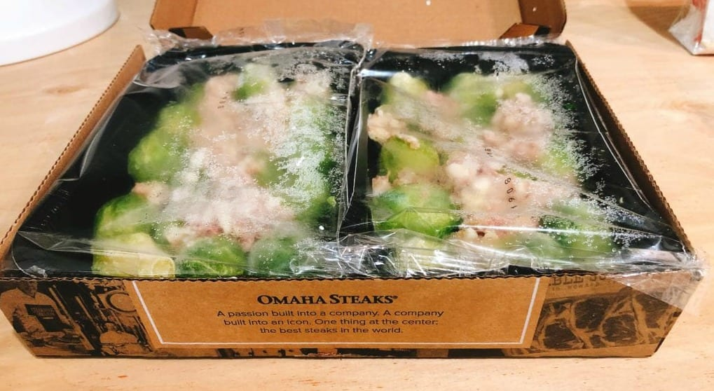 Omaha Steaks Brussel Sprouts side dish in packaging