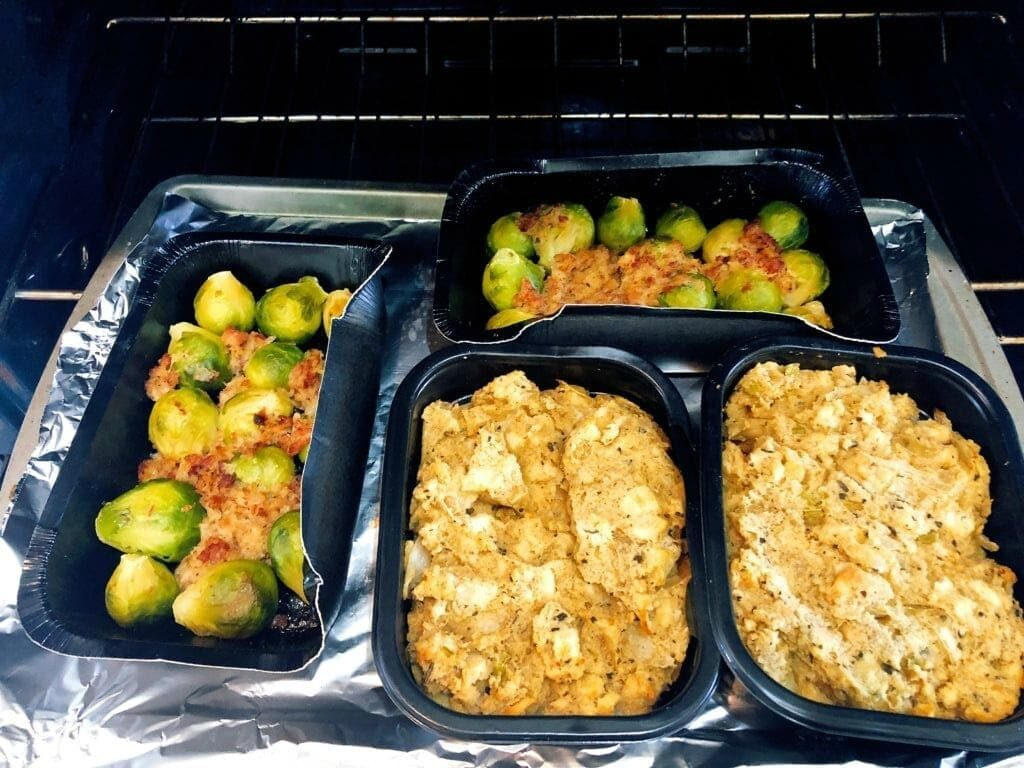 Omaha Steaks Thanksgiving side dishes cooking in oven