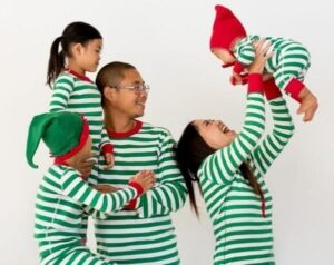 Very Merry Stripes Holiday Pajamas in Green from Hanna Anderson