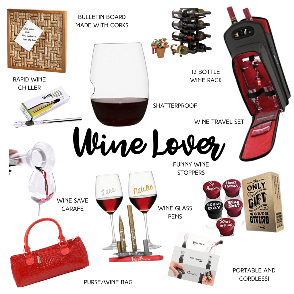 Wine Lover collage of gift ideas