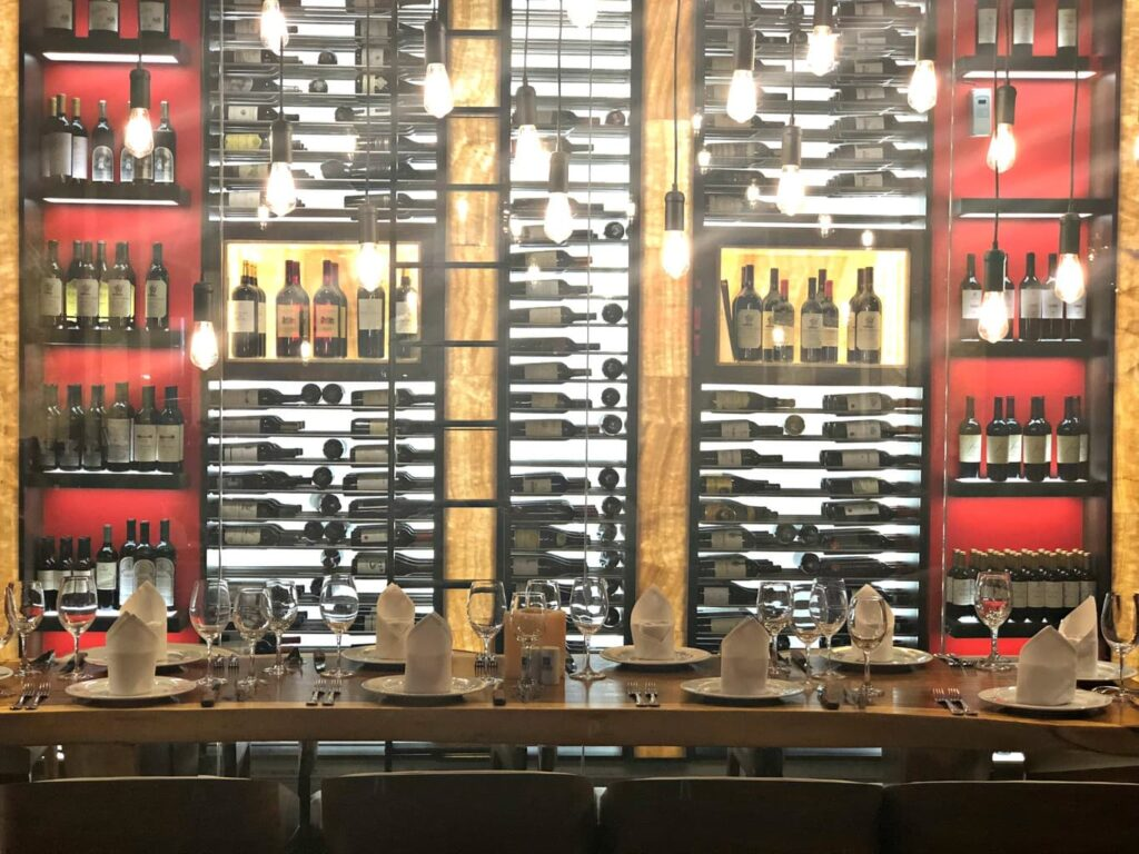 wine area at Texas de Brazil Irvine, CA