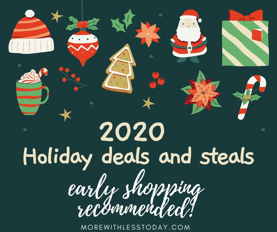 colorful holiday graphic for 2020 Holiday deals and steals