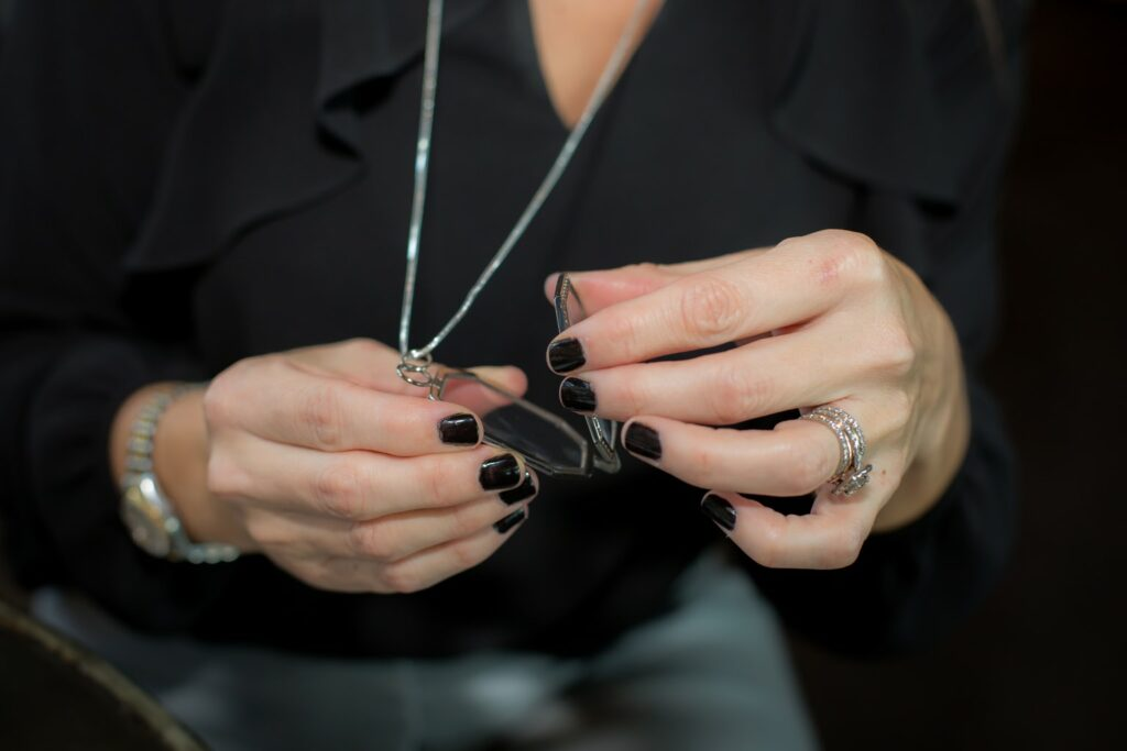 photo of neckglasses on a chain