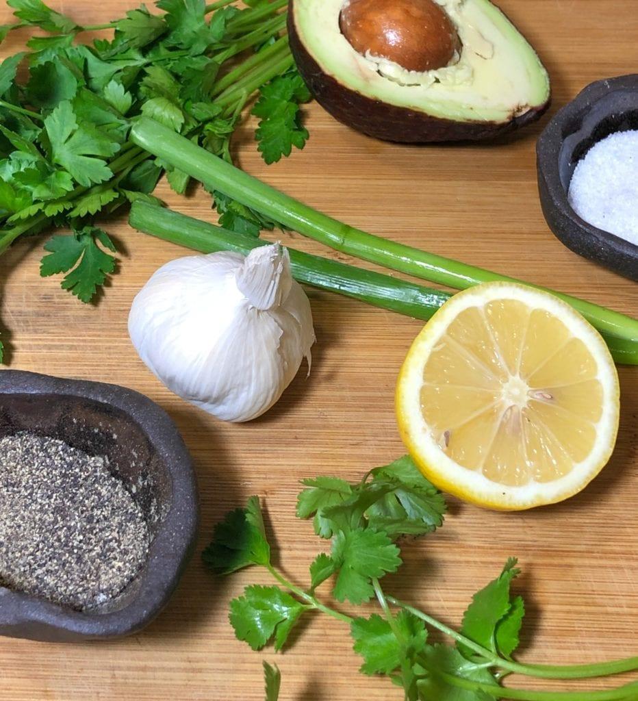 Ingredients for homemade green goddess dressing