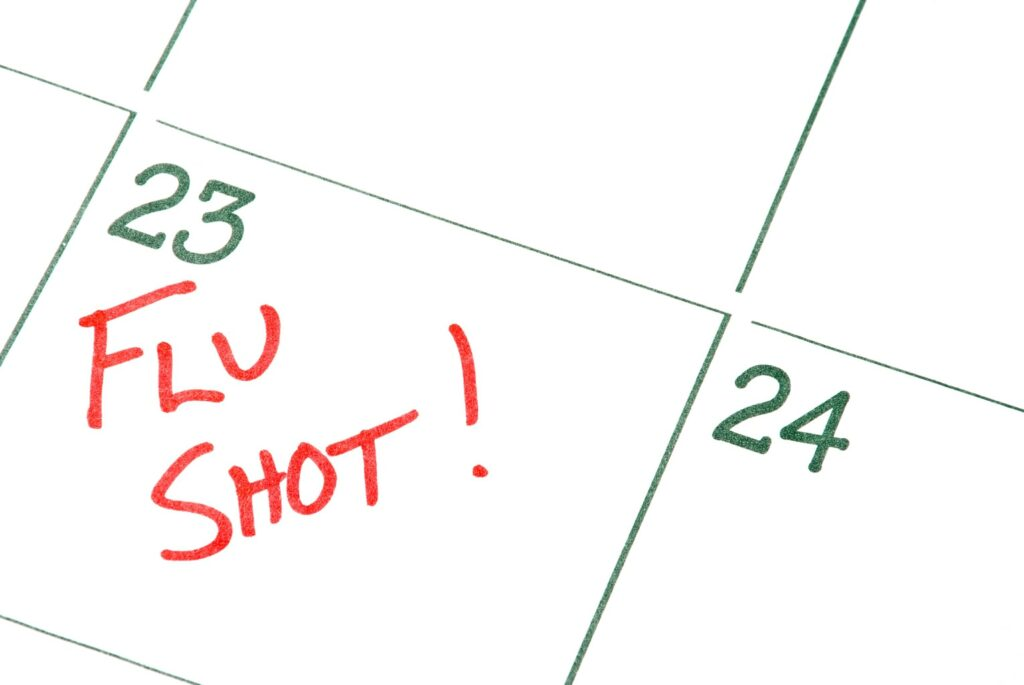 flu shot date marked on a calendar