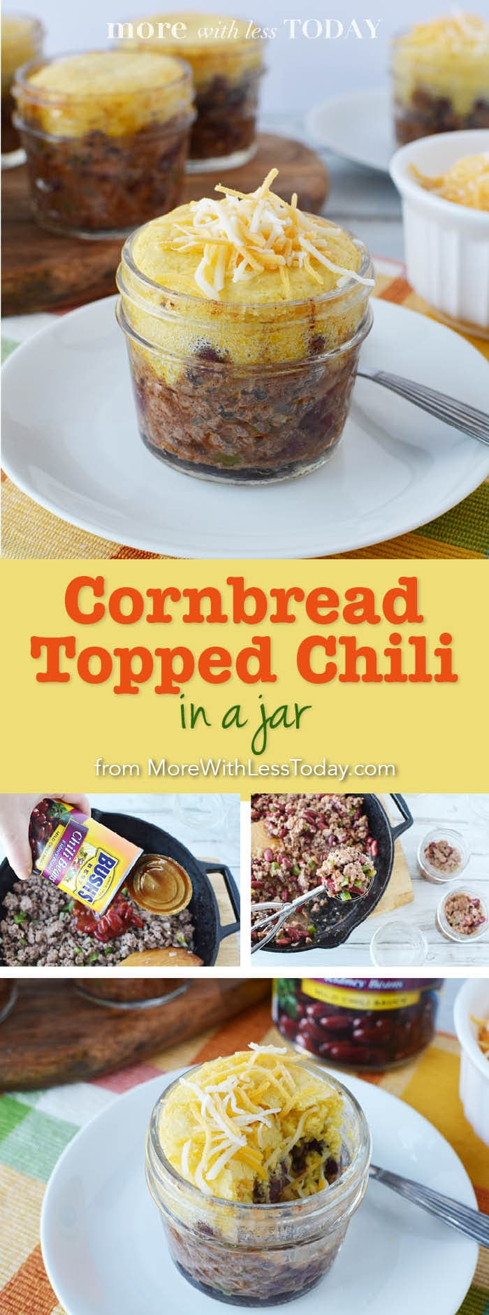 photo of Cornbread Topped Chili in a Jar recipe
