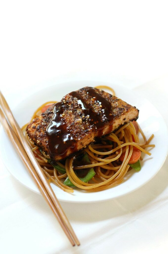 Citrus Ginger Salmon with Garlicky Noodlesrecipe by Strength and Sunshine
