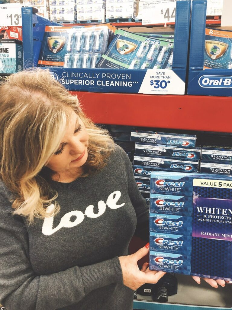 Lori Felix at Sam's Club with Crest toothpaste