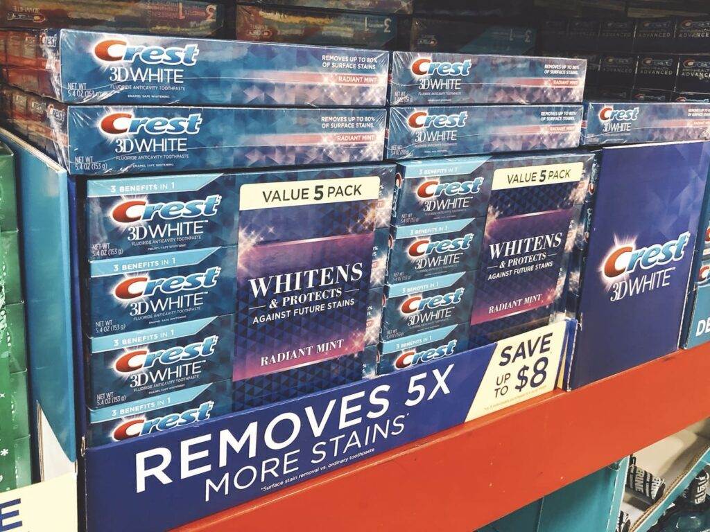 Crest 3D White Toothpaste display at Sam's Club