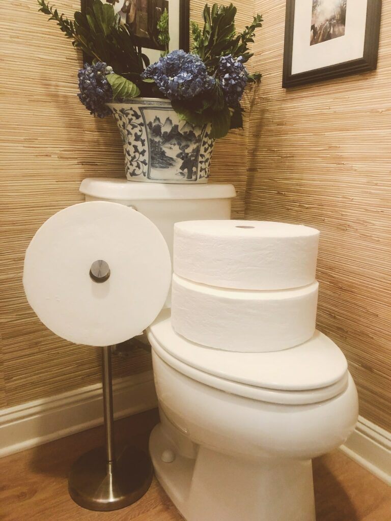 guest bathroom pictured with Charmin Forever Roll starter package