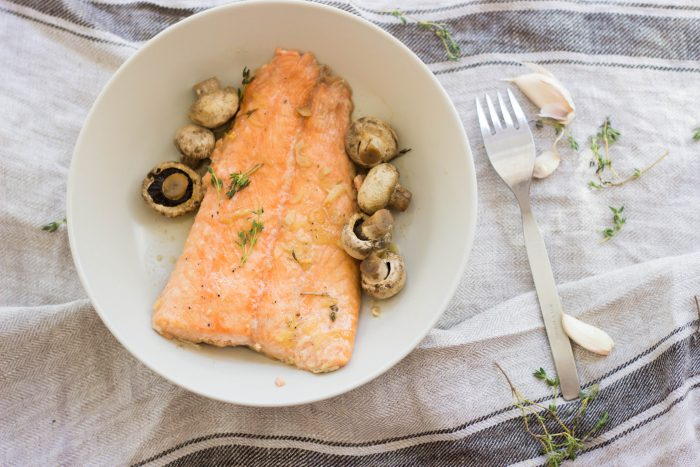 Honey and Garlic Glazed Salmon with Mushrooms by The Cookware Geek