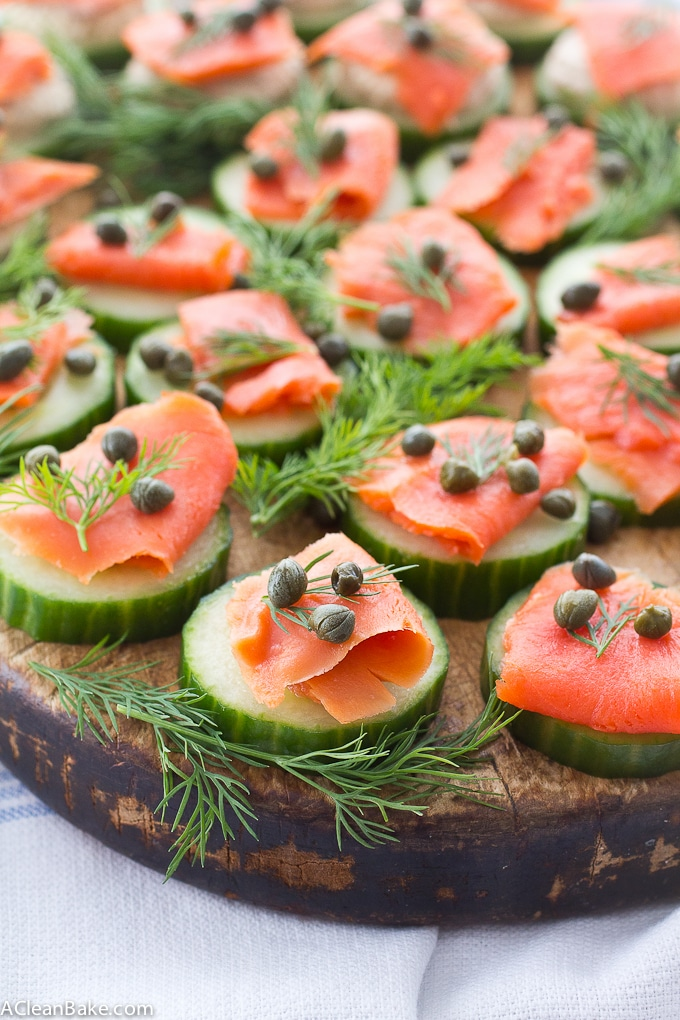 Smoked Salmon Cucumber Bites recipe by A Clean Bake