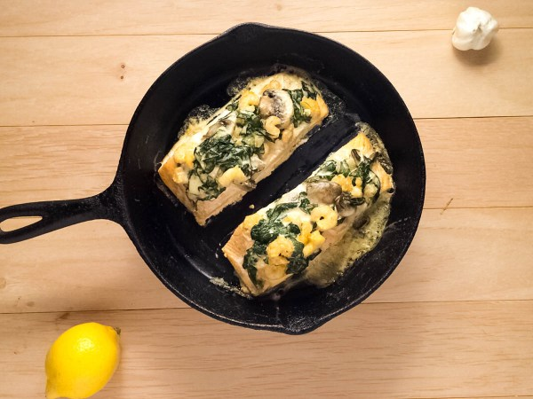 Shrimp & Spinach Stuffed Salmon recipe by A Sprinkling of Cayenne