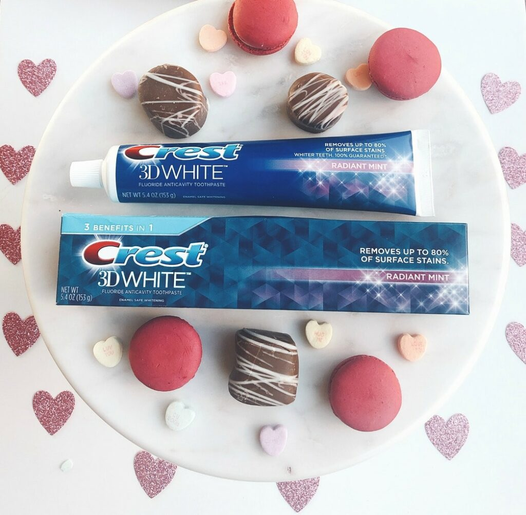 Crest toothpaste 3D White with Valentine's Day treats