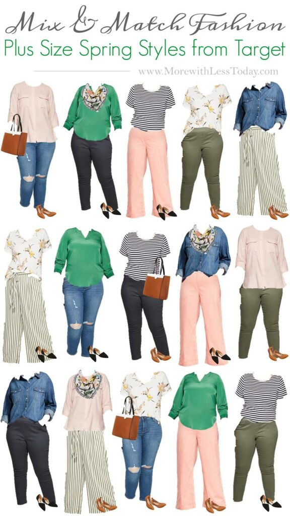Plus Size capsule wardrobe collage with Target fashion
