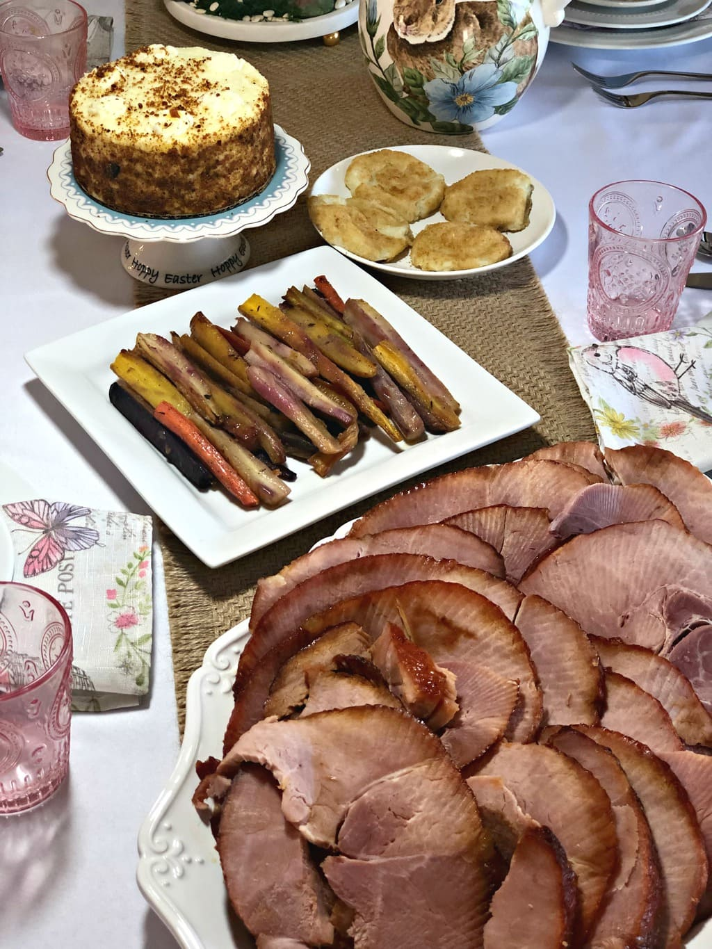 photo of glazed rainbow carrots, carrot cake and Easter ham from Omaha Steaks