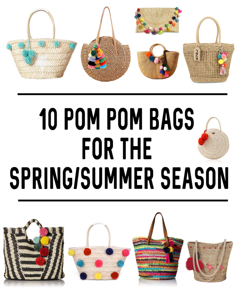 collage of fun pompom bags