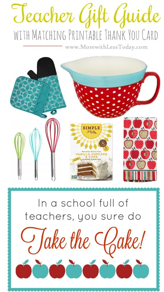 collage of cake-themed teacher appreciation gift