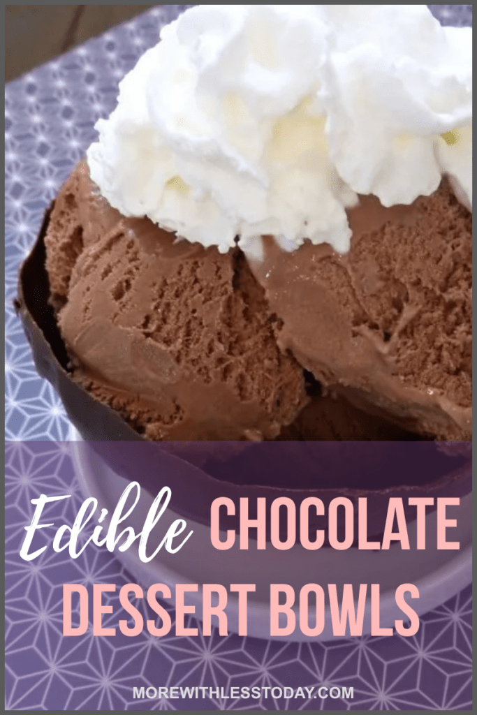 Edible Chocolate Dessert Bowls with chocolate ice cream and whipped cream