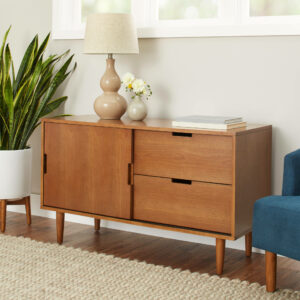 Better Homes and Gardens Flynn Mid Century Modern Credenza, Pecan from Walmart