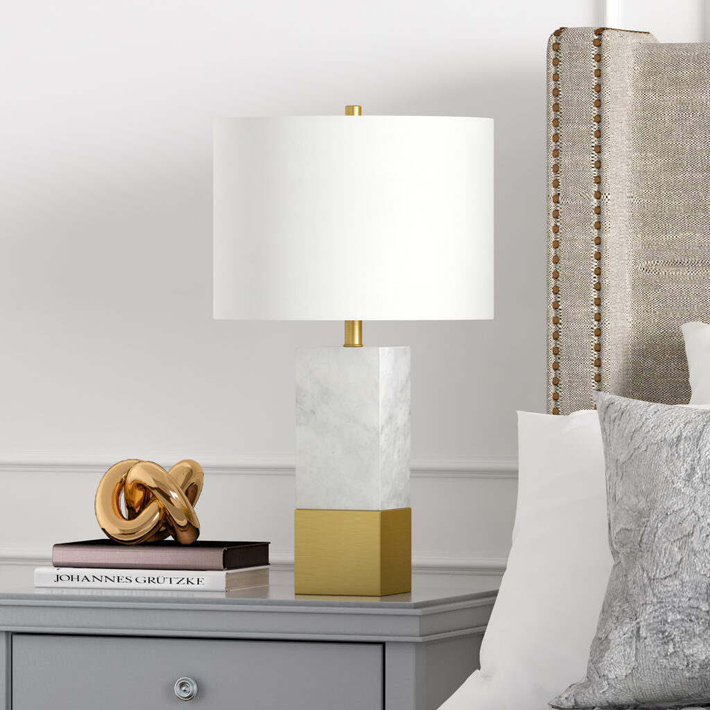 Evelyn&Zoe Lena Contemporary Solid Carrera Marble Table Lamp, Brass