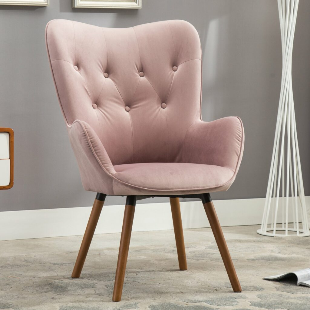 Roundhill Furniture Doarnin Contemporary Silky Velvet Tufted Button Back Accent Chair