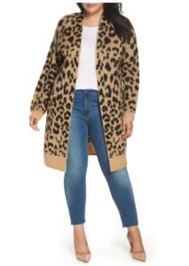 Long Leopard Jacquard Cardigan