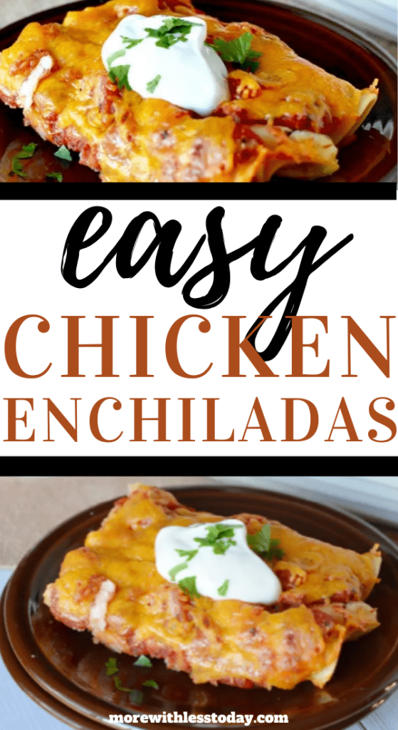 close up photo Chicken Enchiladas on a plate with sour cream garnish