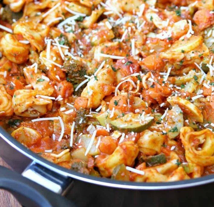 One Pan Tortellini Primavera by Happy Go Lucky