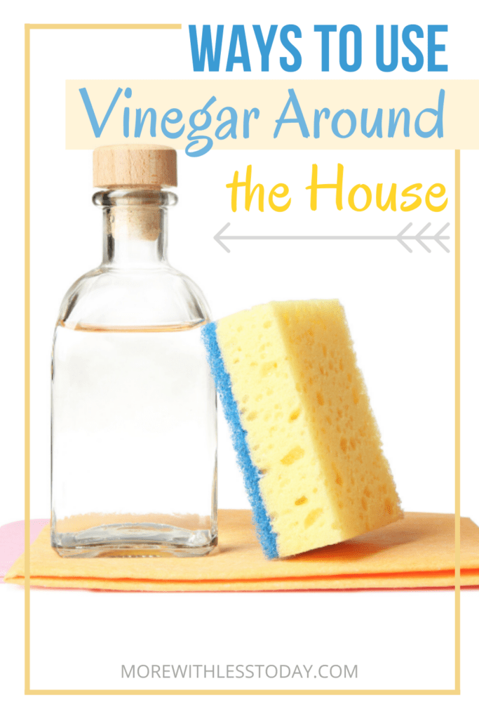 photo of white vinegar in a clear bottle with a sponge - ways to use vinegar around the house