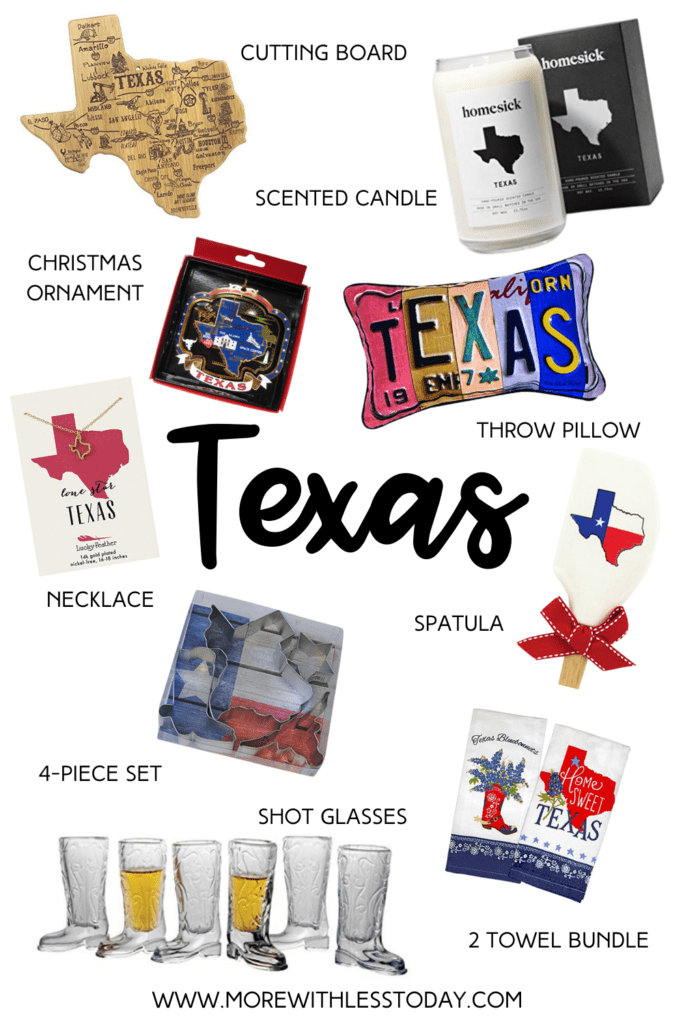 Texas Gift Guide collage of Texas-themed gifts