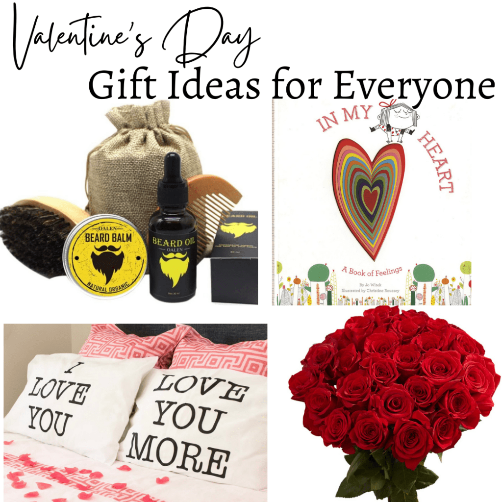 Valentine's Day Gift ideas for Everyone photo ideas of roses, pillowcases, books and more