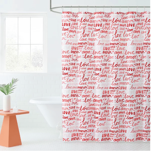 Celebrate Valentine's Day Together Love Words Shower Curtain