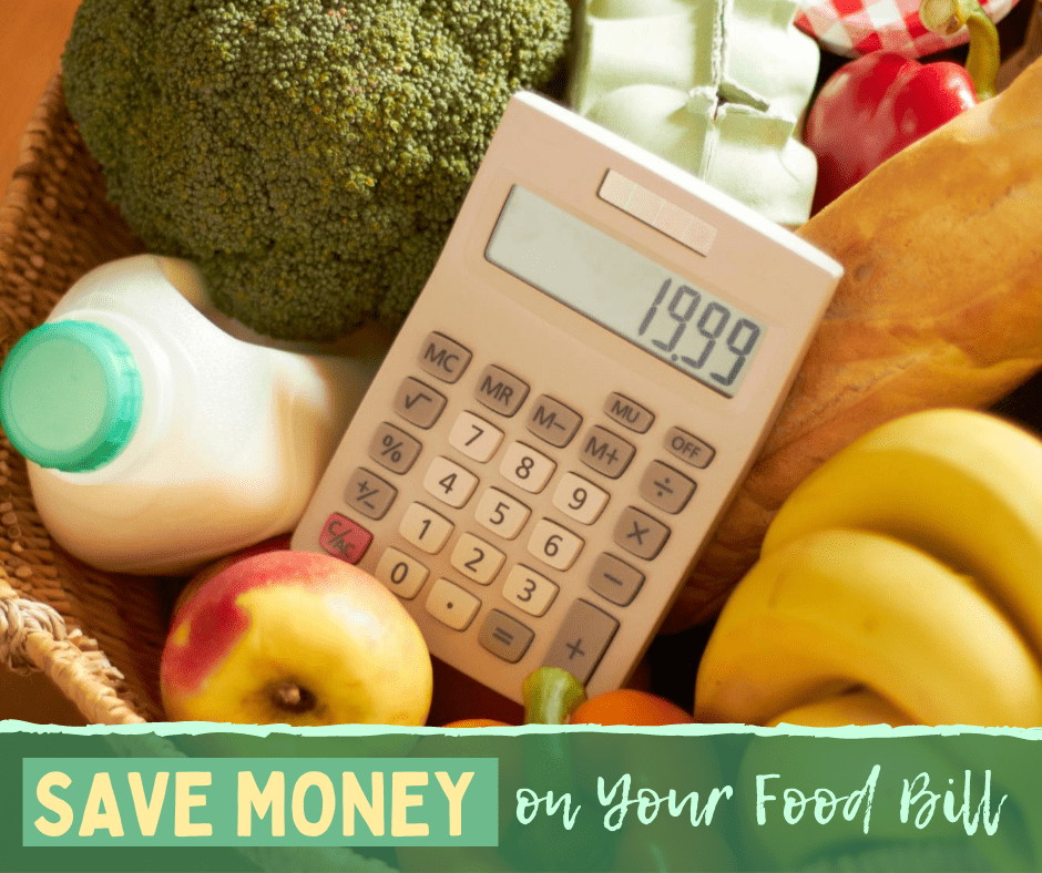 produce, milk and a caluclator- tips for saving money on your food bill