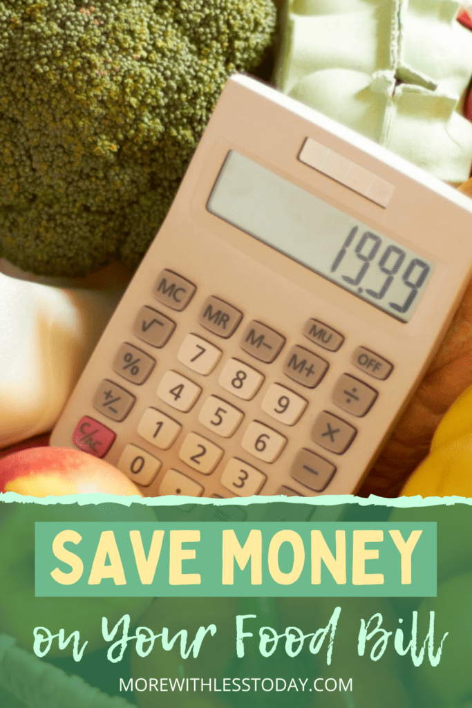milk, eggs, and produce with a calculator - saving money at the grocery store tips
