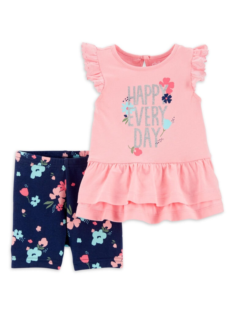 Child of Mine by Carter's Baby Girl Ruffle Short Sleeve Shirt & Shorts Outfit, 2 pc Set